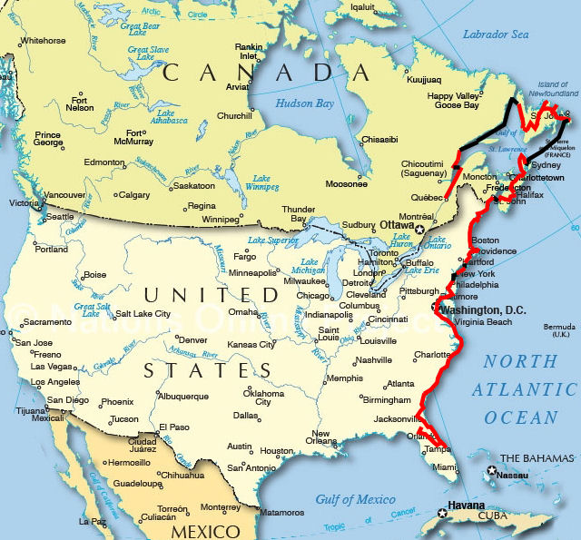 Cycling East Canada And USA - Usa mapa